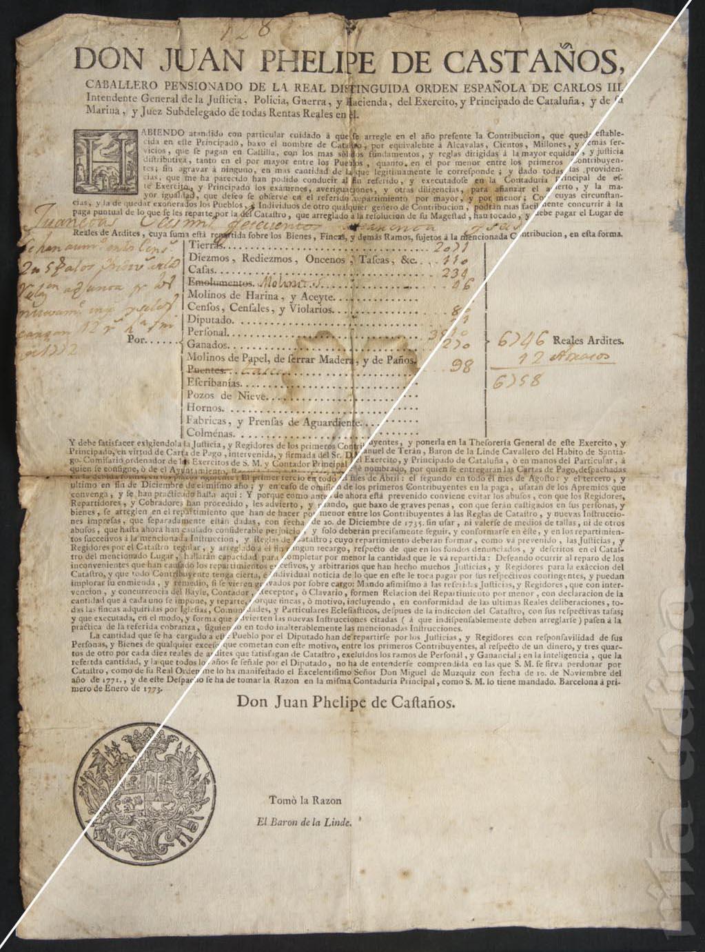 Contribució del cavaller pensionat Juan Phelipe