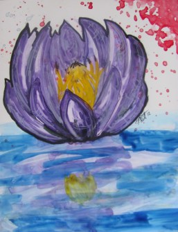 "8 X 10"" Watercolor on Yupo Paper ""Water Lily"""