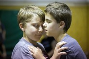 Taylor Runion, 10, left, and Amaurie Davidson, (cq) 13, hold on to each other's shoulders while learning how to perform Judo moves at Camp Abilities, hosted at the Maryland School for the Blind on June 30, 2015 in Baltimore, Md.