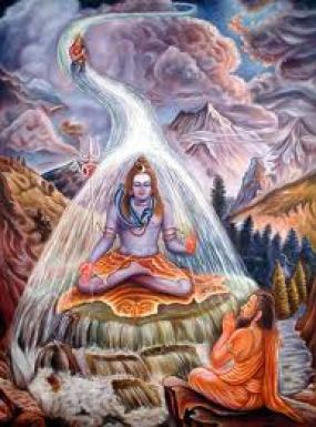 Bhagirath doing penance to bring Ganga on earth