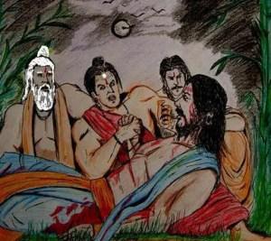 Ashwaththama consoling Duryodhana on his deathbed