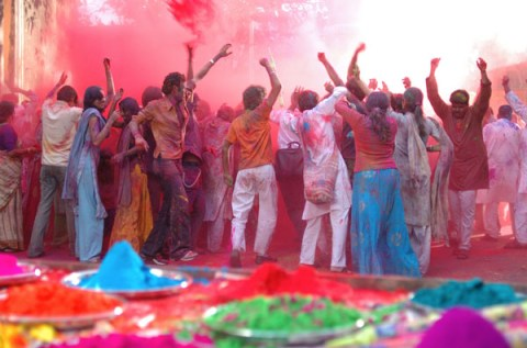 People celebrating Holi