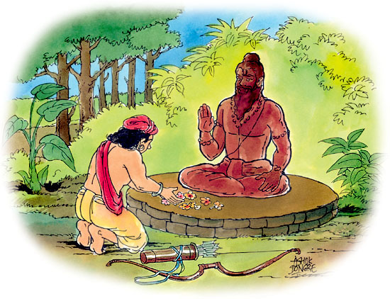 ekalavya-drona-mahabharat-teacher-gurudakshina-indian-mythology