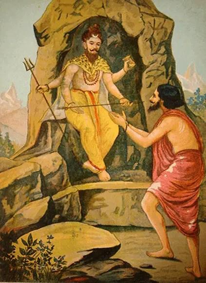 Lord Shiva giving Pashupata astra to Arjuna – Mahabharat
