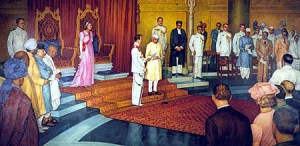 Nehru taking oath on first independence day