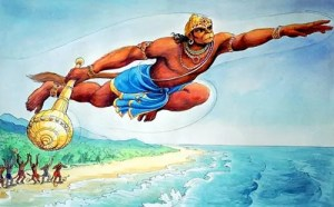 Hanuman departing for Lanka in search of Sita when Ravana abducted her from Dandaka forests.