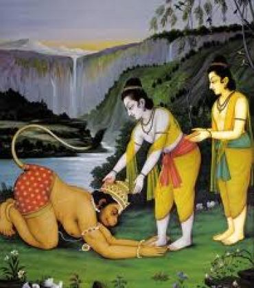 he meets Rama and Laxman after returning from lanka.