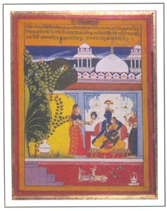 Rajasthani painting - Krishna and Radha