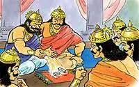 Shakuni defeating Yudhishthira