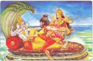 Sage Bhrigu angry with Lord Vishnu