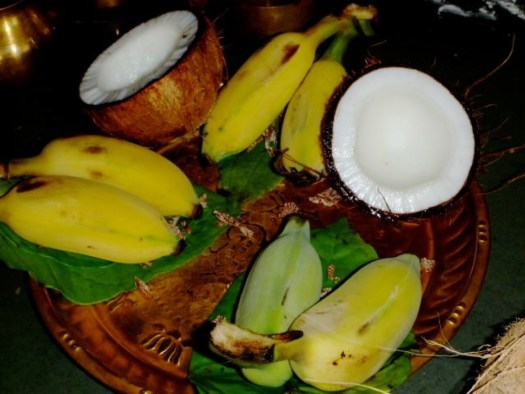 Offering of coconut and banana in temples