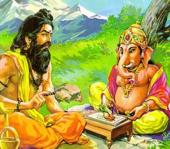 Ved Vyasa and Lord Ganesha, writing Mahabharata together
