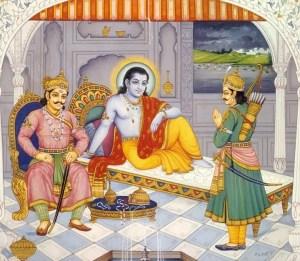 Lord Shri Krishna, Arjuna and Duryodhana before Mahabharata