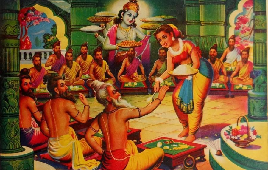 Draupadi serving Food to Durvasa Rishi from Akshaypatra