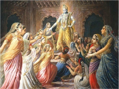 Shri Krishna and his queens