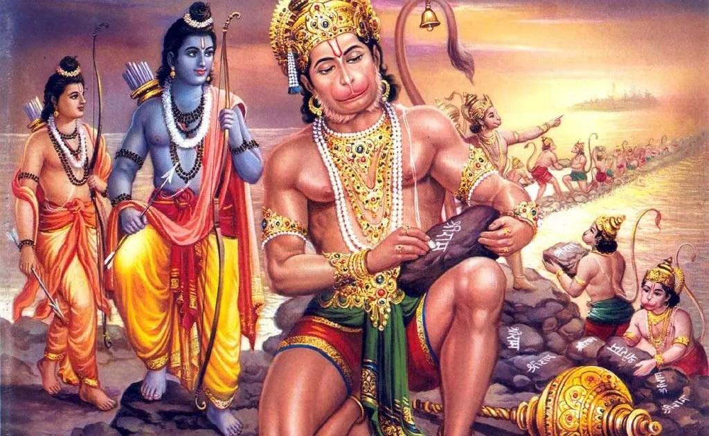 hanuman-constructing adams bridge- Hanuman chalisa