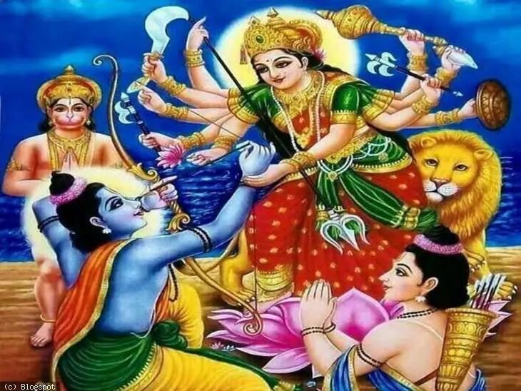 Rama offering his eye to Devi Durga