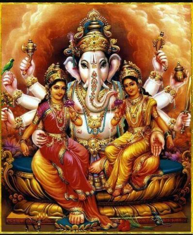 Riddhi and Siddhi with Ganesha