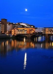 Moonrise over the Arno in Florence