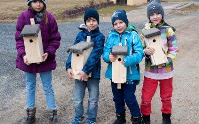 Junge Naturforscher bauen Nistkästen