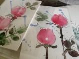 Ruusukortteja, akvarelli ja tussi 2013