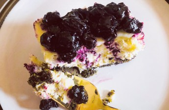 Piece of Blueberry cheesecake bar