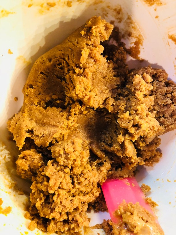 Formed flourless peanut butter cookie dough