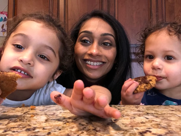Enjoying cookies with the girls