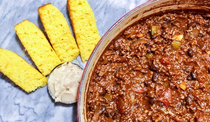 Beef chili with honey cornbread