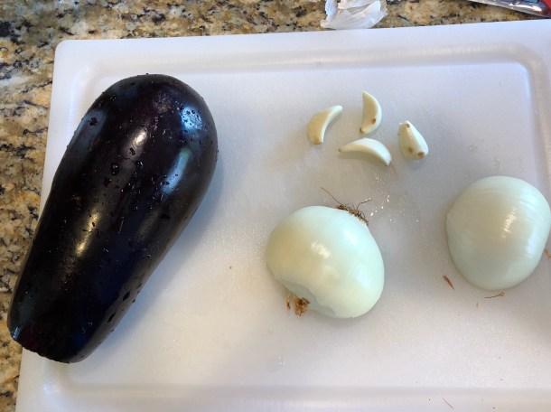 Eggplant, Onion, garlic