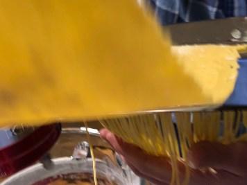 Run pasta sheet through pasta maker