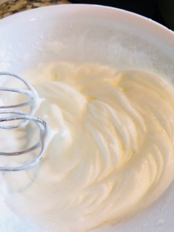 beat egg whites until stiff peaks form