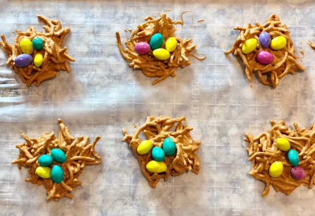 Butterscotch peanut butter birds nests with mini chocolate eggs