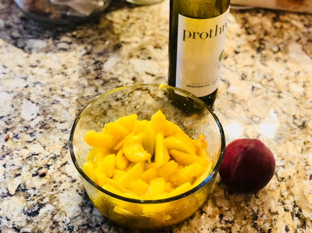 wine macerated peaches