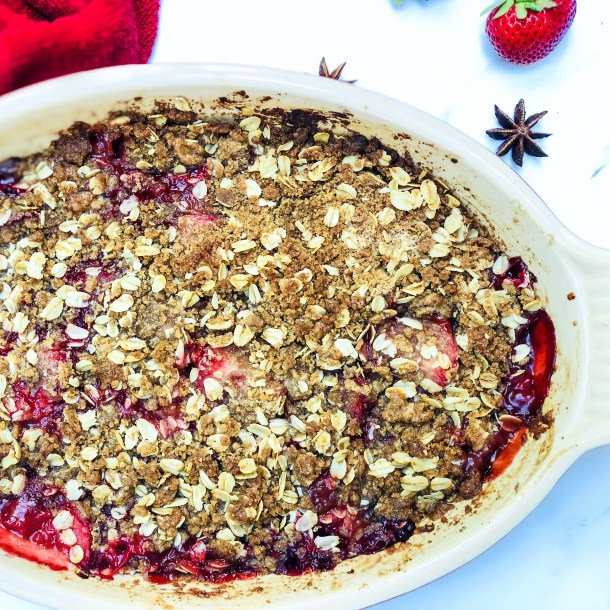 strawberry rhubarb crisp with star anise