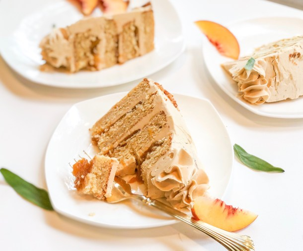 Peach, Sage, and Whiskey Layer Cake