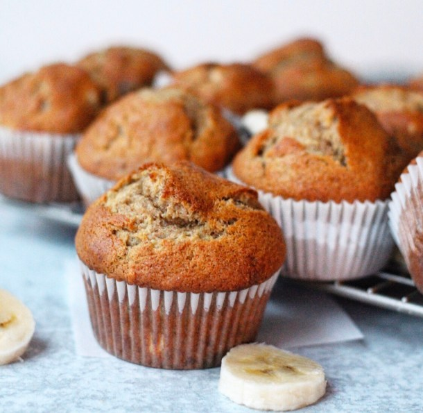 toasted sugar and coconut creme banana muffins