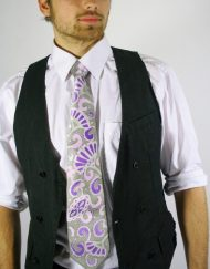 Silver Paisley Necktie