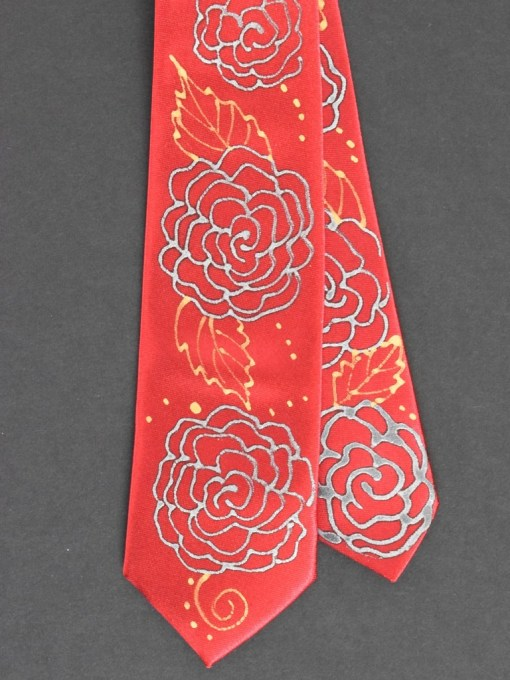 Red Rose Skinny Tie Floral