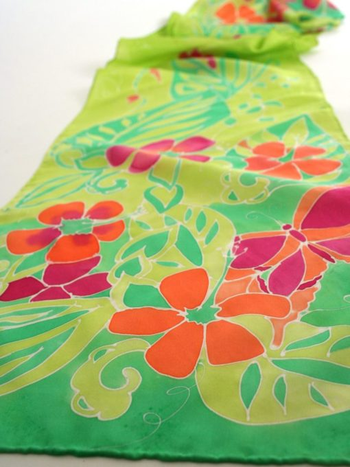 Spring Green Floral Scarf