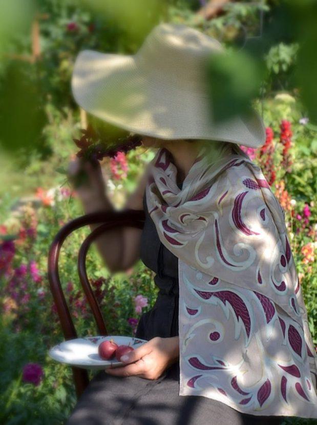 Filigree swirls scarf- art nouveau silk scar
