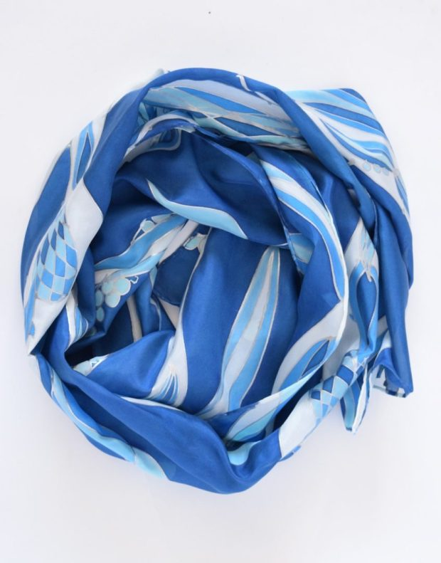 Blue Waves Silk Scarf