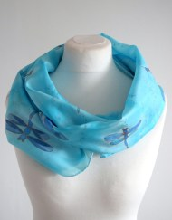 Blue Dragonfly Silk Scarf