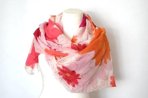 Bright Floral Silk Chiffon silk Wrap