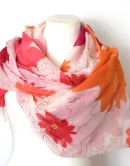 Bright Floral Silk Chiffon silk Wrap