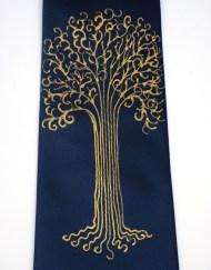 Blue Gold Tree Tie