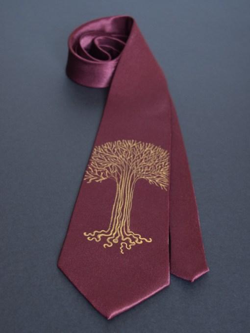Maroon Gold Tree Tie