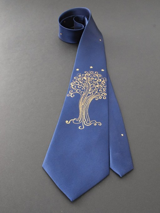 Blue LOTR Star Tree Tie Groom