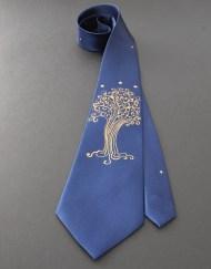 Blue LOTR Star Tree Tie Groom