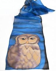 Blue Owl Chiffon Scarf